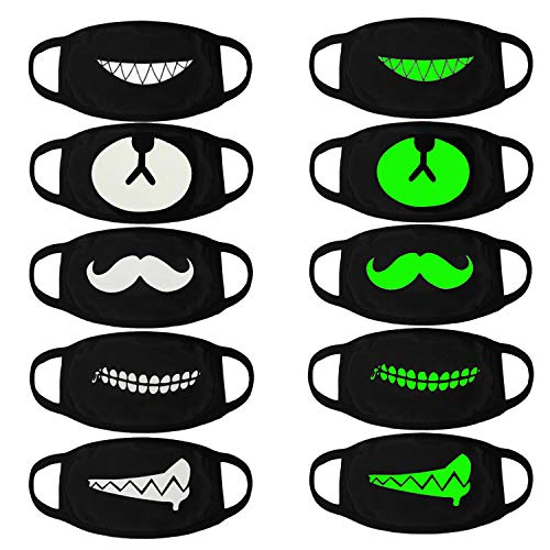 Big Mouth Halloween (Luminous Mouth Mask,Aniwon 5 Packs Antidust Face Mask Party Cosplay Mask Cotton Masks Glow in The Dark Mouth Mask Halloween Party)