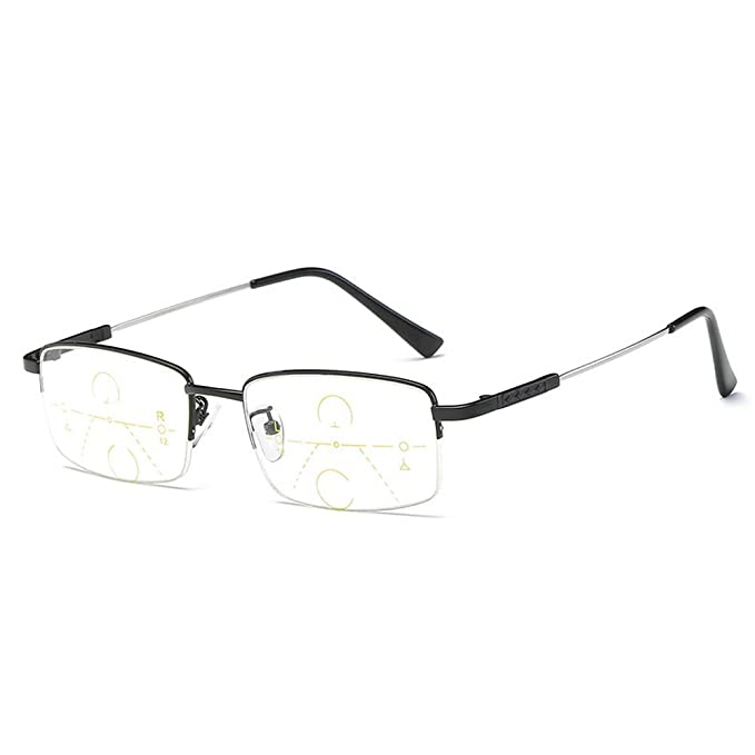 1d5bcb1d61a MINCL Half Frame Progressive Multifocal Reading Glasses Very Light  Adjustable Vision Eyewear (black