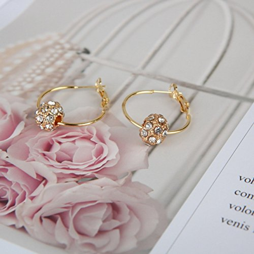 Colorful Crystal Rhinestone Ball Ear Stud Hoop Drop Earrings Lucky Ball Jewelry ()