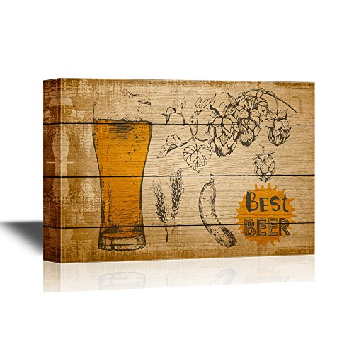 Glass of Beer on Vintage Wood Style Background