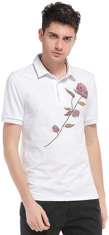 Polo Camisa de Polo de Manga Corta Bordado de impresión de Manga Corta de Color Rosa de Manga Camiseta Hombres de la Solapa de Verano
