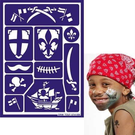 Grim'tout Face Painting Stencils - Knight and Pirate -