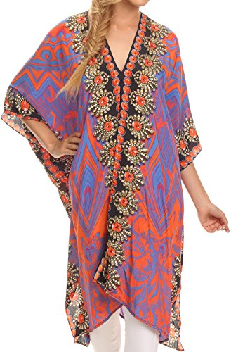 Sakkas SS1632 KF5021A Libra Mid Length Caftan Dress / Cover Up With Tribal Print / Rhinestones And V-Neck - Orange Navy - OS