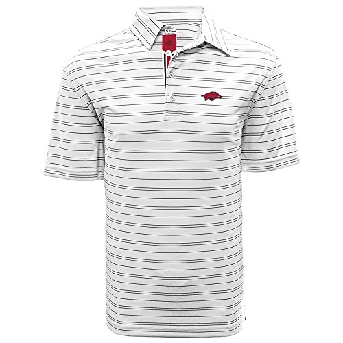 Razorbacks Banner Ncaa Arkansas - Levelwear LEY9R NCAA Arkansas Razorbacks Men's Deion Banner Stripe Polo, Medium, White/Black