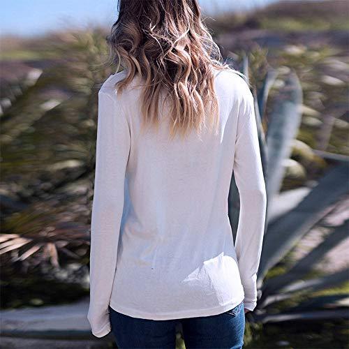 T V Sport Shirt Blanc Longues Haut Femme Chic Color Top Manches TM Top Basique Femme Haut Shirt Col Tee 4qxw5vZ7