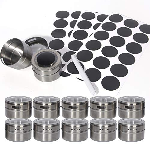 12 Pack Magnetic Spice Tins - Stainless Steel Magnetic Spice Rack Magnetic on Fridge Spice Jars Organizer Condiment Container Set for Herbs & Seasonings & with 48 Spice Labels & Pen (12, Silver)