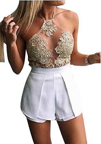3c8f722cd1427e ZEAMO Women Halter Neck Sexy Crochet Floral Sleeveless Lace Open Back Tank  Crop Top (Medium