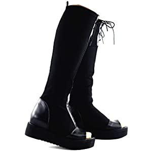 Show Story Punk Black Lace-up Stretch Low Heel New Thigh High Ridding Boots,Q3F9102BK38,7US,Black