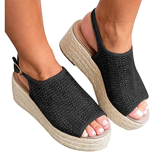 - Athlefit Women's Espadrille Wedge Sandals Braided Jute Ankle Buckle Platform Summer Sandals Size 9.5 Jute-Black
