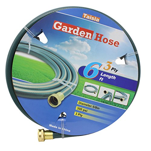 "Taisia Garden/Farm/Water Hose 5/8""X6ft-3PLY- Lead-Free - Great for Gardens/Farm and Ranch (6 FT) by Taisia"