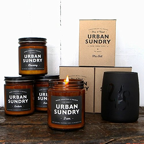 Natural Soy Wax Candle, Five Points Fragrance, 50 Hours, Scent Notes of Bergamot, Myrrh, Musk and Bold Cedar, Men and Women, Amber Apothecary Glass Jar, Non-Toxic, by Urban Sundry