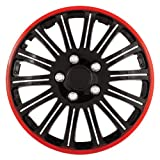 black 16 inch wheel covers - Pilot Universal Fit Cobra Black and Chrome with Red Trim 16 Inch Wheel Covers - Set of 4 (WH527-16RE-BX)