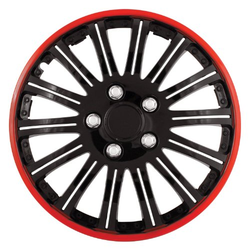 Pilot Universal Fit Cobra Black and Chrome with Red Trim 16 Inch Wheel Covers - Set of 4 (WH527-16RE-BX) ()