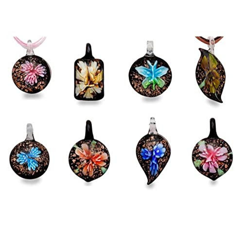 Glass pendants amazon bundle monster colorful assorted glass murano floral pendant necklace 8pc set 18 cord aloadofball Gallery