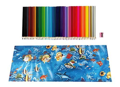 Gaya Fesyen 塗り絵 鉛筆 ロールアップケース 子供 女の子 男の子 アート ギフト おもちゃ 48本 お絵かきセット ブルー Colored Pencils with Roll up Bag Set