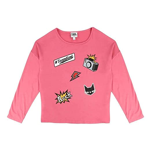 482eb2948 Amazon.com: Karl Lagerfeld Kids Girl's Long Sleeve Jersey Tee With  Embossed/Patch Graphic (Little Kids) Pink Sorbet T-Shirt: Clothing