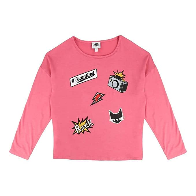2b7d0550e Karl Lagerfeld Kids Girl's Long Sleeve Jersey Tee with Embossed/Patch  Graphic (Big Kids