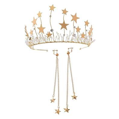 Gazechimp Diadèmes Cristal Couronne Boucles D oreilles Bandeau Cheveux Serre -tête Étoiles db950fa4657