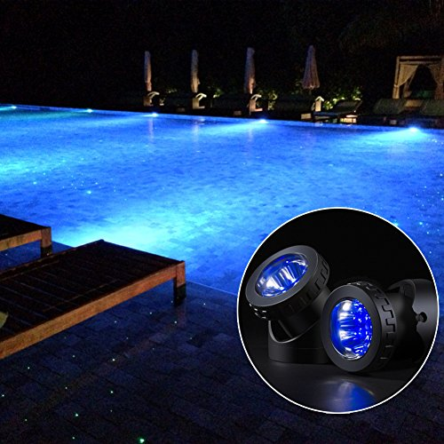 GAXmi Solar Garden Lawn Pool Waterproof Underwater LED Spotlight with Flash Mode (Double Lamps) Blue