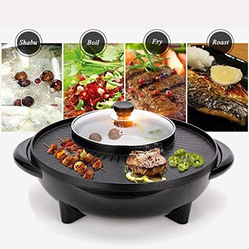Wenhui Ménage Multi-Fonction Barbecue Poêle à Double Usage Barbecue Hot Pot One Pot électrique Hot Pot électrique de Cuisson Pan, 16.5Inch