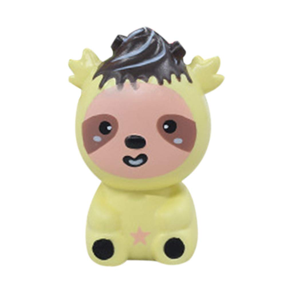Stress Reliever Simulated Cute Bear Scented Super Slow Rising Kids Squeezable Favors for Kids Toy (Yellow)