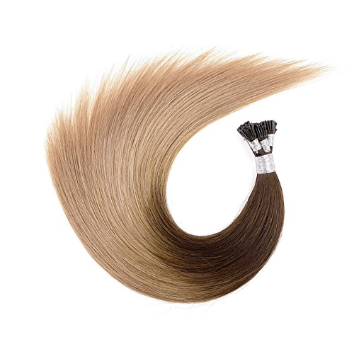 "Price comparison product image Ty.Hermenlisa 18"" Silky Straight Micro Rings Hair Extensions 100% Real Virgin Remy Human Hair Fusion Stick I Tip Extensions, 50strands/Pack, 30g, Light Golden Brown Blonde(#T402.404.18)"