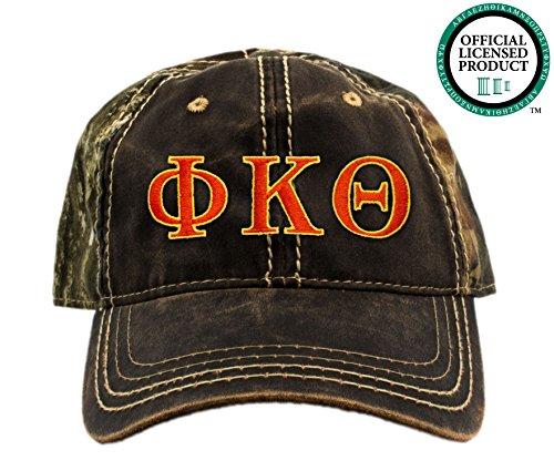 Phi Kappa Theta Embroidered Camo Baseball Hat, Various Thread Colors