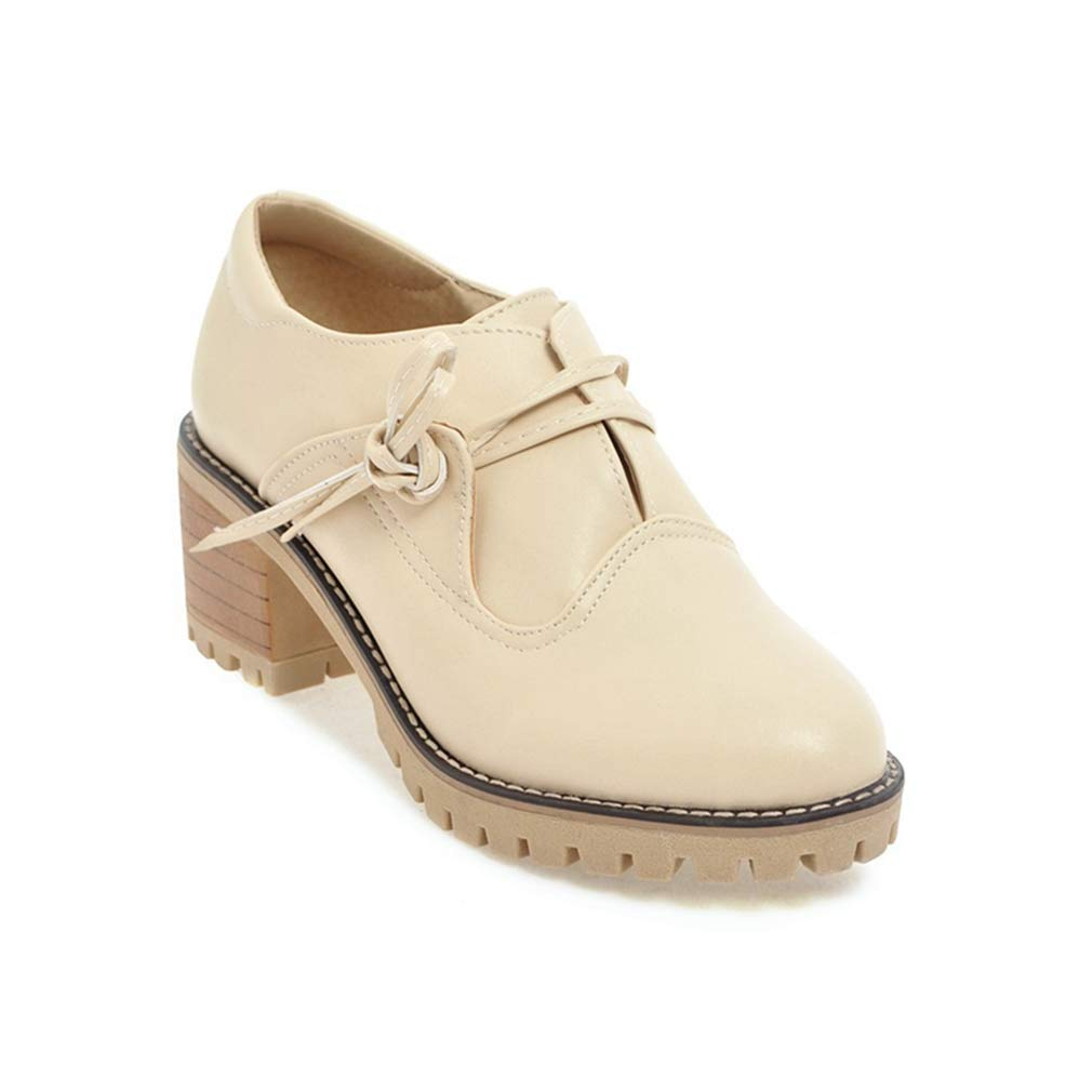 Beige Elsa Wilcox Women Lace Up Slip On Chunky Mid Heel Vintage Dress Oxfords Pump Round Toe Platform Oxford shoes