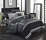 Bed in a Bag King Clearance Chic Home Zarah 10 Piece Comforter Set Complete Bed in a Bag Pieced Color Block Banding Bedding with Sheet Set And Decorative Pillows Shams Included, King Grey