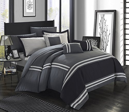 Chic Home Zarah 10 Piece Comforter Set Complete Bed in a Bag Pieced Color Block Banding Bedding with Sheet Set And Decorative Pillows Shams Included, Queen Grey by Chic Home