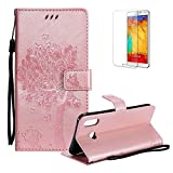 Funyye Folio Wallet Case for Samsung Galaxy A6S,Elegant Rose Gold Vintage Embossed Tree Cat Strap Magnetic Flip Stand Function with Credit Card Holder Slots Cover for Samsung Galaxy A6S