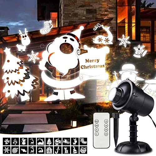 Christmas Lights Projector, 3D Rotating Christmas Projector Lights with Christmas Trees/Santa Claus/Stars/Snowflake/Reinder/Snowman Pattern, Waterproof with Remote for Outdoor Christmas Decorations (Santa's Best Christmas Tree Remote Control)
