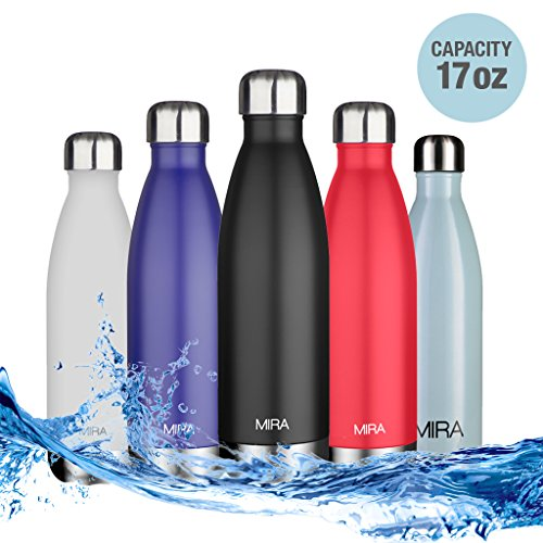 MIRA Vacuum Insulated Travel Water Bottle | Leak-proof Double Walled Stainless Steel Cola Shape Bottle | Keeps Drink Hot & Cold | 17 Oz (500 ml) | Compare to S'well, Hydro Flask, Camelbak | Black