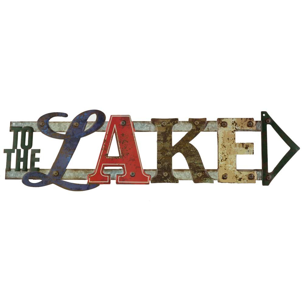 Open Road Brands to The Lake Directional Word Sign, 24'' L x 6.6'' W