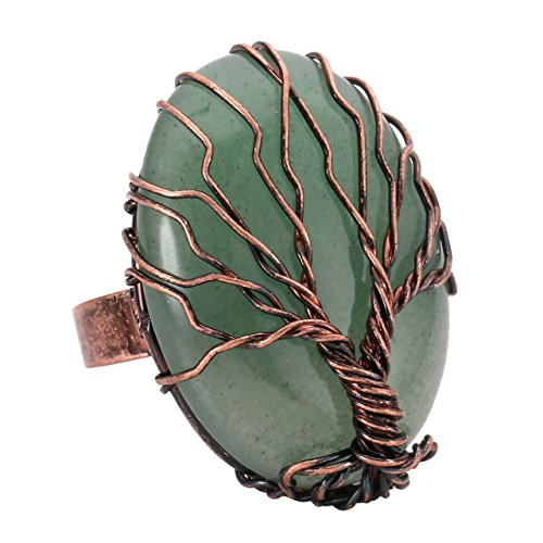(Top Plaza Handmade Retro Vintage Copper Wire Wrapped Tree of Life Oval Green Aventurine Healing Crystal Adjustable Ring Bronze Band Size 6 7 8)