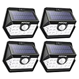 Solar Lights Mpow Motion Sensor Lights Outdoor 20 LED Upgraded 120°Wide-angle Detection,Waterproof Wall Lights Super Bright Night Lights Security Lights for Garage Front Door Garden Pathway-4 Pack
