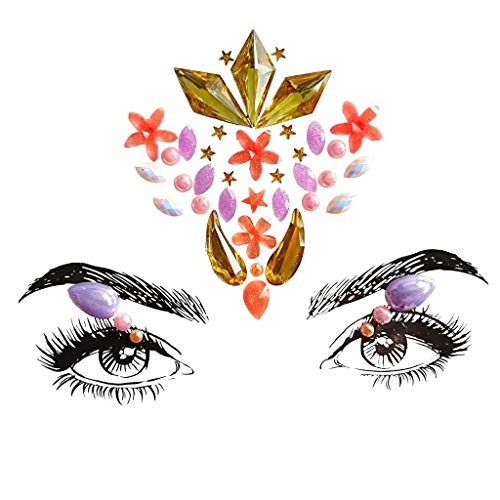 QingFan Face Gems Adhesive Glitter Jewel Tattoo Wedding Festival Rave Party Body Make Up Temporary Stickers (C)