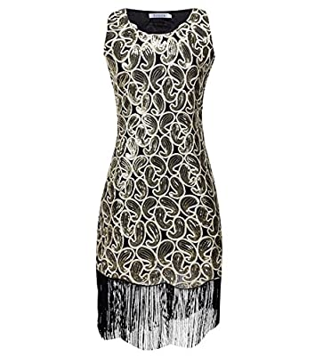 Solatin Women's Vintage 1920s Sequined Embellished Fringed Paisley Flapper Dresses