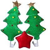 Christmas Car Antlers, Reindeer Antlers with Plush Reindeer Nose for Car Grille, Reindeer Ears Car Costume for Christmas - Full Set with 2 Antlers and 1 Reindeer Nose (Christmas Tree)