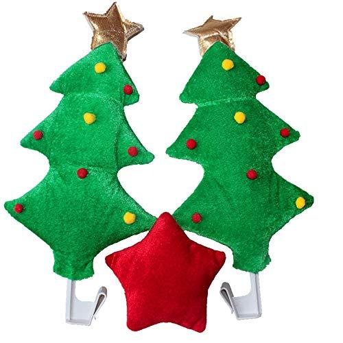 Christmas Car Antlers, Reindeer Antlers with Plush Reindeer Nose for Car Grille, Reindeer Ears Car Costume for Christmas – Full Set with 2 Antlers and 1 Reindeer Nose (Christmas Tree)