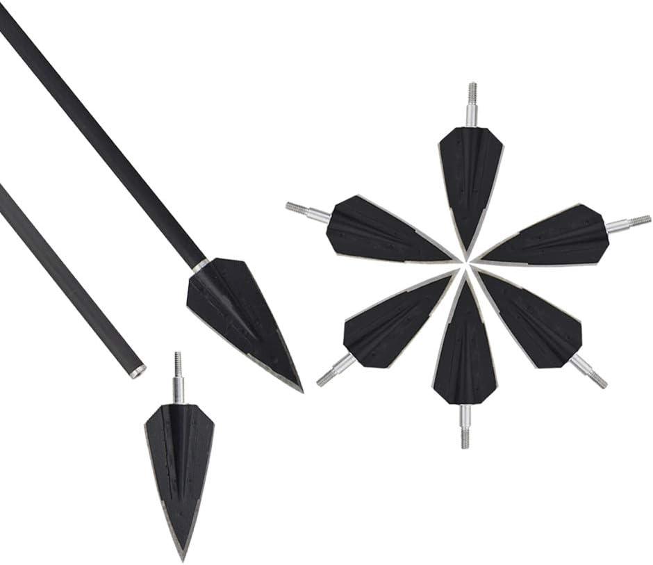 6pcs Archery Arrow Head Broadheads 2 Blade Solid Wide Head Hunting Tips 150Grain