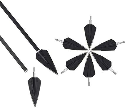 6pcs Black Archery 100 Grain 4 Blade Arrowheads Broadheads with for Hunting