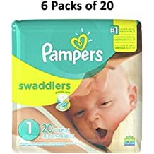 Pampers Swaddlers Diapers, Size 1, 20 Count Pack of 6 (Total of 120 Pampers)