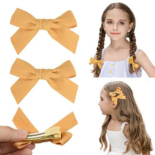 DEEKA 2 Pack Hair Clip Hair Bows Fringe Clip for Little Girls - Solid Ginger