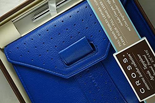 Cross Personal Agenda - Cross Autocross Limited Edition Genuine Italian Full-Grain Pebbled Electric Blue Leather, Personal Agenda, with Cross Pen