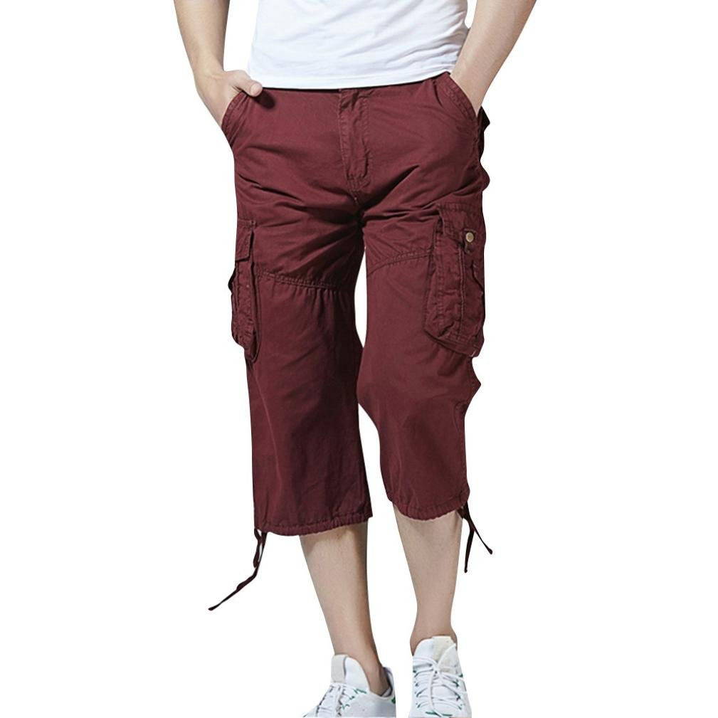Discount Multi-Pockets Casual Solid Cargo Pants Men Relaxed Fit Outdoors Work Beach Trousers