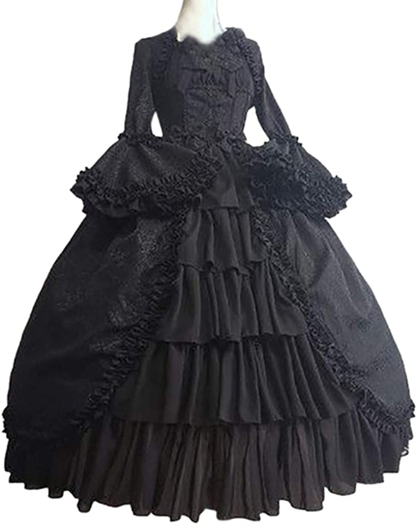 Fashion Womens Vintage Gothic Court Square Collar Long Sleeve  Patchwork Dress