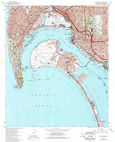 YellowMaps Point Loma CA topo map, 1:24000 Scale, 7.5 X 7.5 Minute, Historical, 1967, Updated 1986, 26.7 x 21.6 in - Tyvek ()