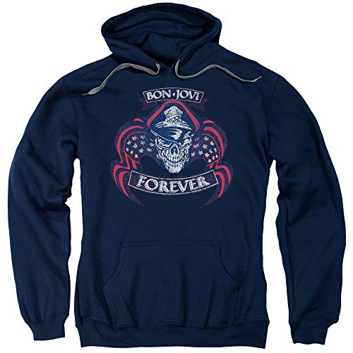 Bon Jovi - Forever Cap & Skull - Adult Hoodie Sweatshirt - Medium ()