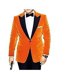 Men's Eggsy Orange Velvet One Button Kingsman Tuxedo Jacket Suit